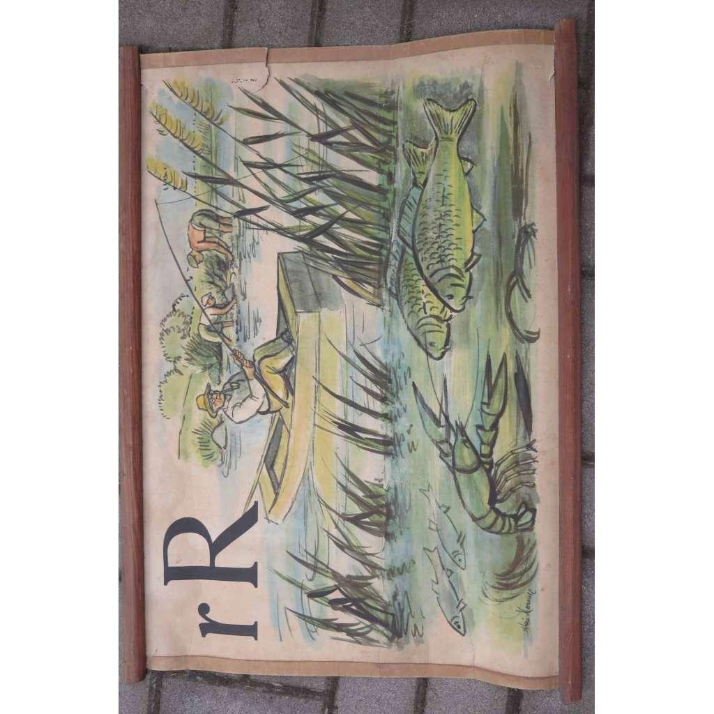 Živá abeceda - písmeno R - ryba rybář - školní plakát