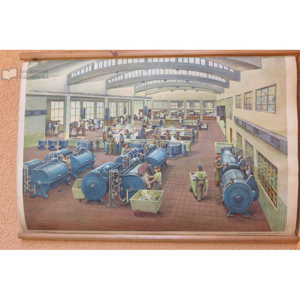 Družstevní prádelna - školní plakát - přírodopis