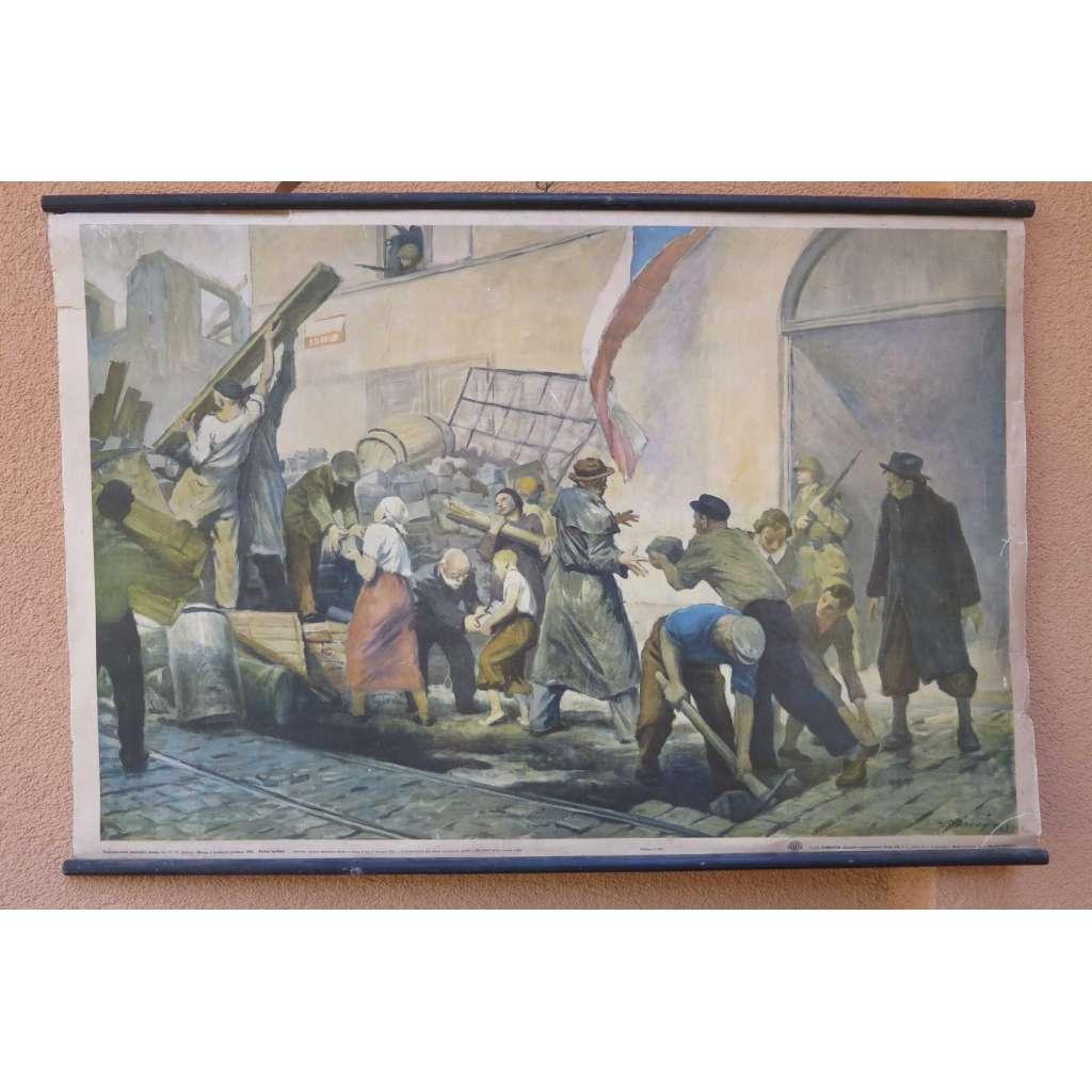 Pražské povstání - barikády - školní plakát