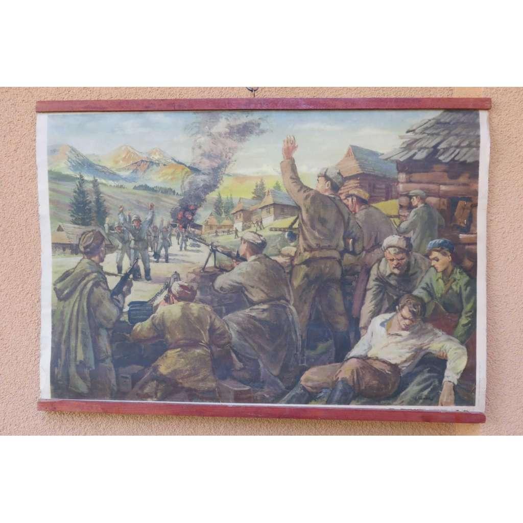 Partyzáni v boji - přepad nepřátelské jednotky - školní plakát