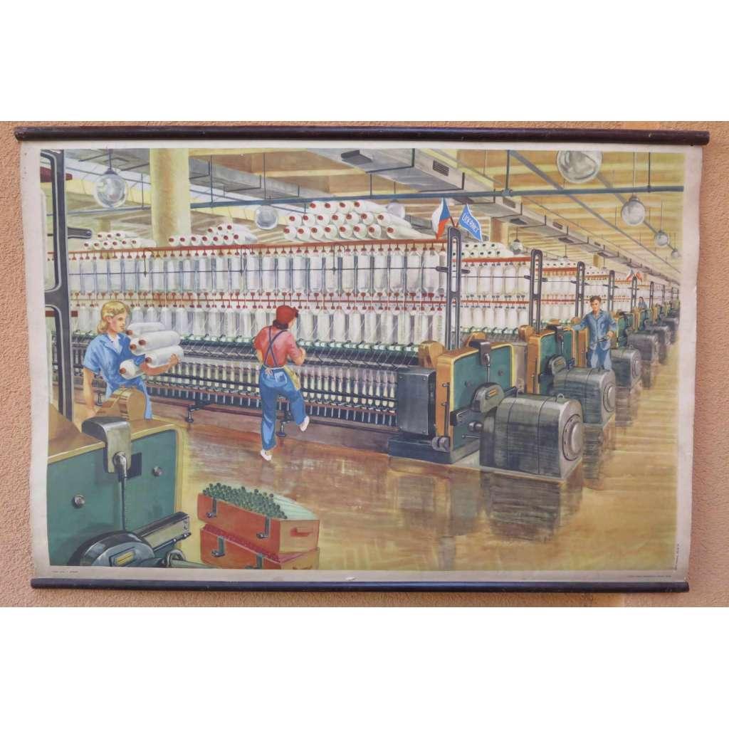 V přádelně - textilní továrna - školní plakát
