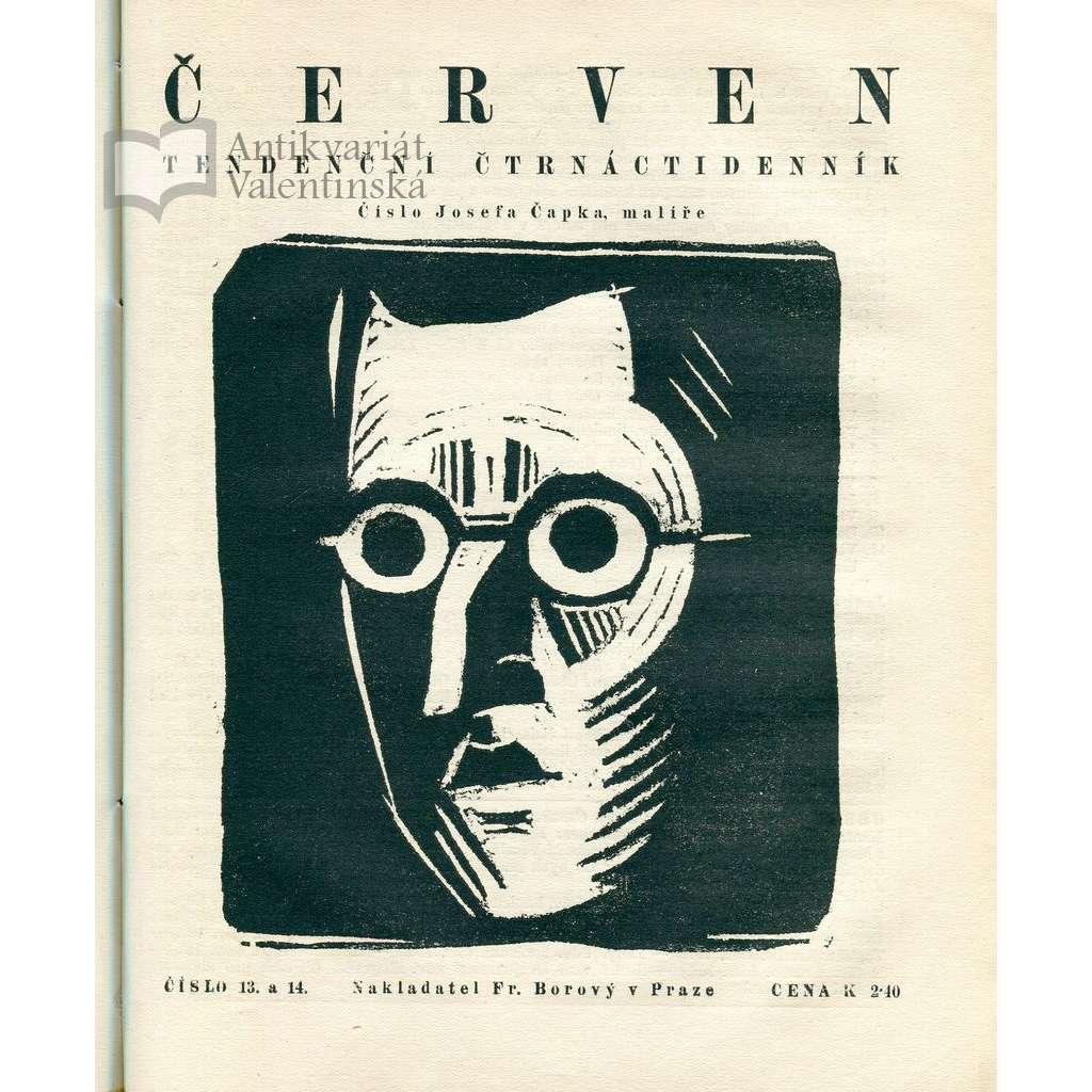 Červen, časopis, Tendenční čtrnáctideník. Roč. I (1918-1919) - Obsahuje desítky orig. grafických příloh (4 chybí)