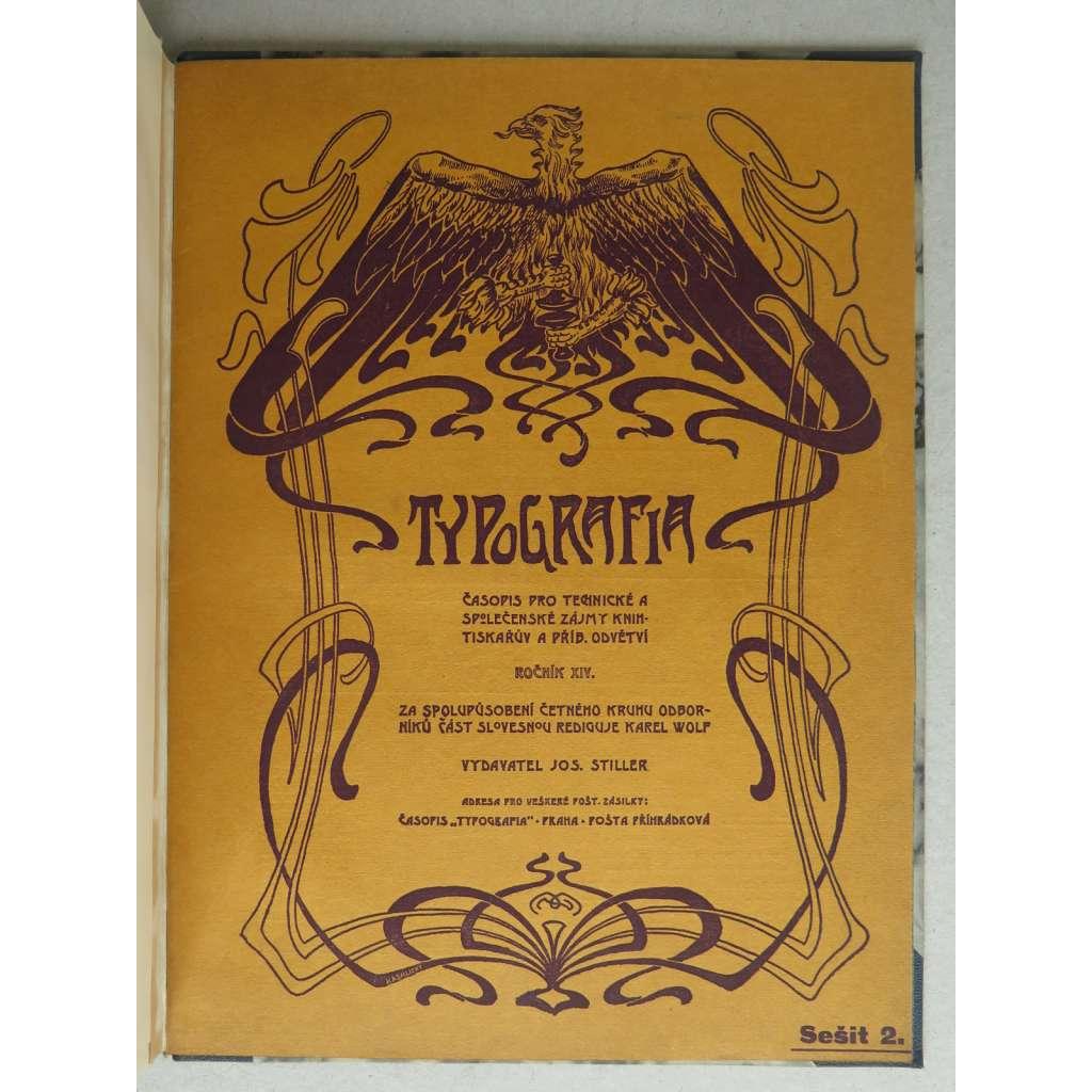 Typografia (+PŘÍLOHY nekompletní). Ročník XIV. (14.) - 1903. Časopis - odborný list knihtiskařů