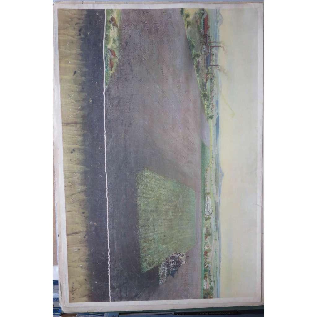 Burian, Zdeněk - Krajina a půdní typ (půda černozemní) - školní plakát - přírodopis