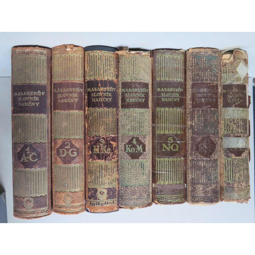 MASARYKŮV SLOVNÍK NAUČNÝ 7 sv. - KOMPLET VAZBY KŮŽE (naučná encyklopedie, první republika)
