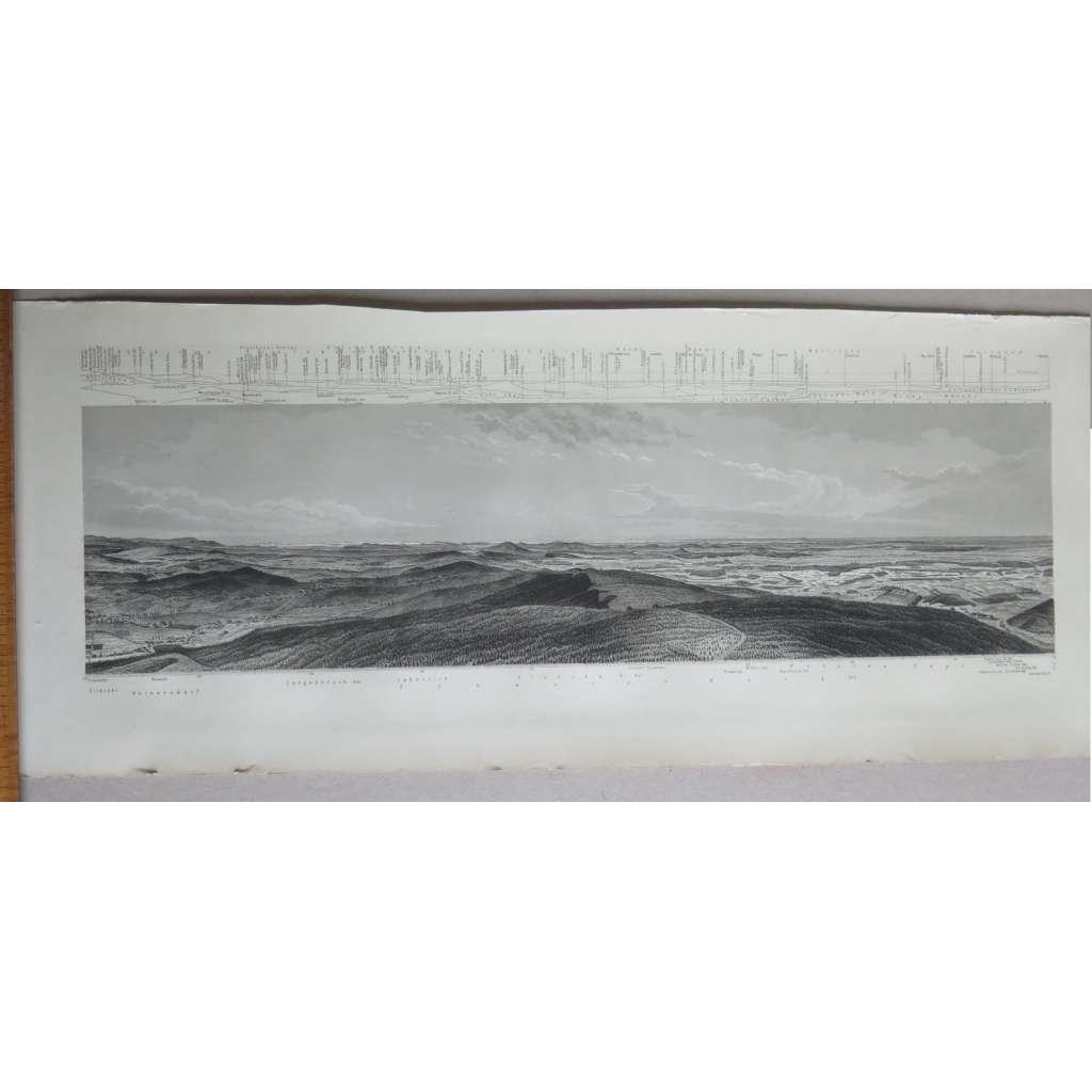 Pohled z Ještědu - Panorama vom Jeschken - 4x grafika, veduta - Liberec 1884 - ORIGINÁL