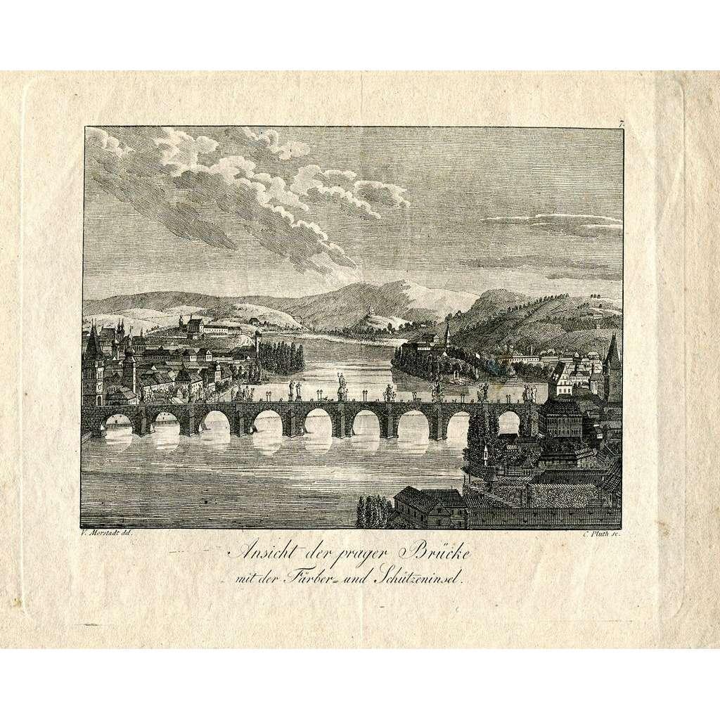 Ansicht der prager Brücke mit der Färber und Schützeninsel