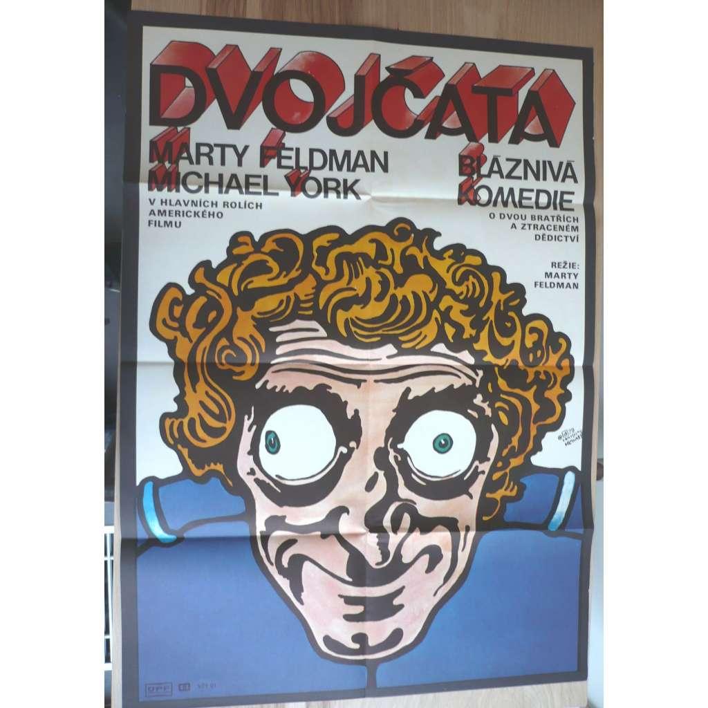 Dvojčata (filmový plakát, film USA 1977, režie Marty Feldman, Hrají: Ann-Margret, Marty Feldman, Michael York)