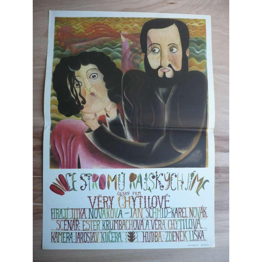 Ovoce stromů rajských jíme (filmový plakát, film ČSSR, režie Věra Chytilová, hrají Jitka Nováková, Jan Schmid)