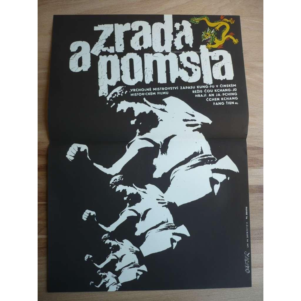 Zrada a pomsta (filmový plakát, film Čína 1986, režie Čou Kchang-Ju, hrají: An Ja-Pching, Čchen Kchang)