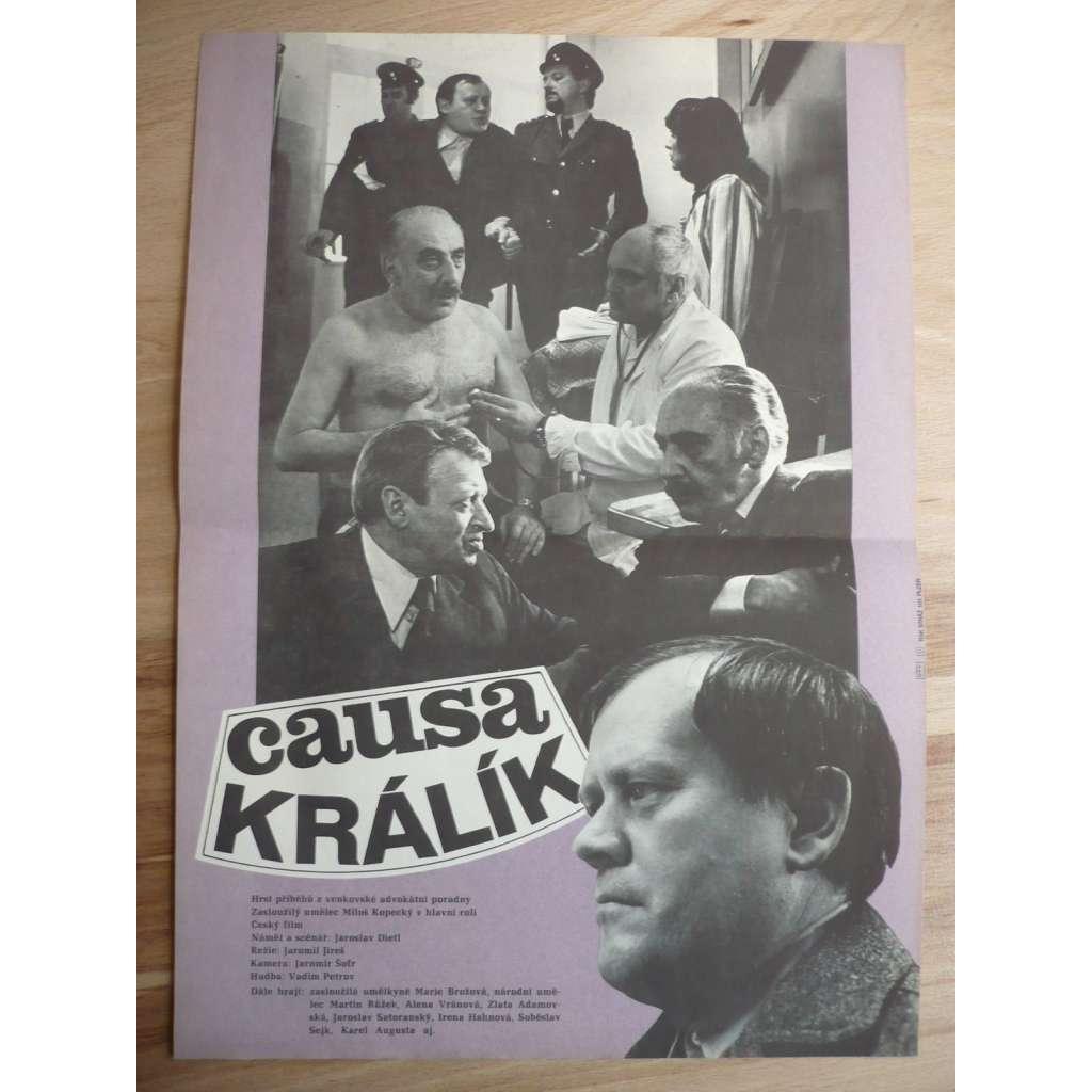 Causa Králík (filmový plakát, film ČSSR 1979, režie Jaromil Jireš, Hrají: Marie Brožová, Miloš Kopecký, Jaroslav Satoranský)