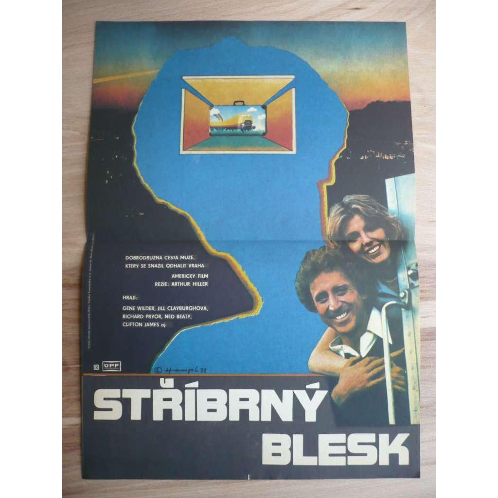 Stříbrný blesk (filmový plakát, film USA 1976, režie Arthur Hiller, Hrají: Gene Wilder, Jill Clayburgh, Richard Pryor)