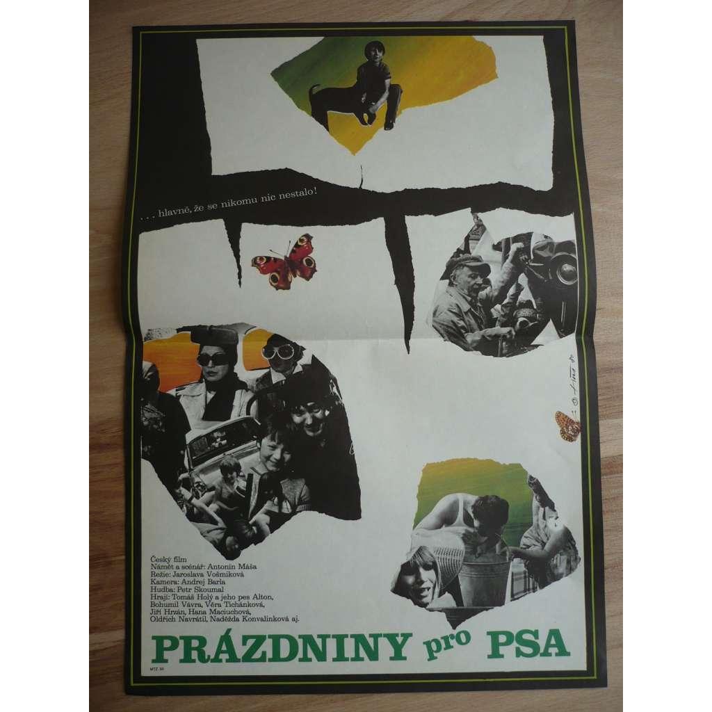 Prázdniny pro psa (filmový plakát, film ČSSR 1980, režie Jaroslava Vošmiková, Hrají: Tomáš Holý, Bohumil Vávra, Věra Tichánková)