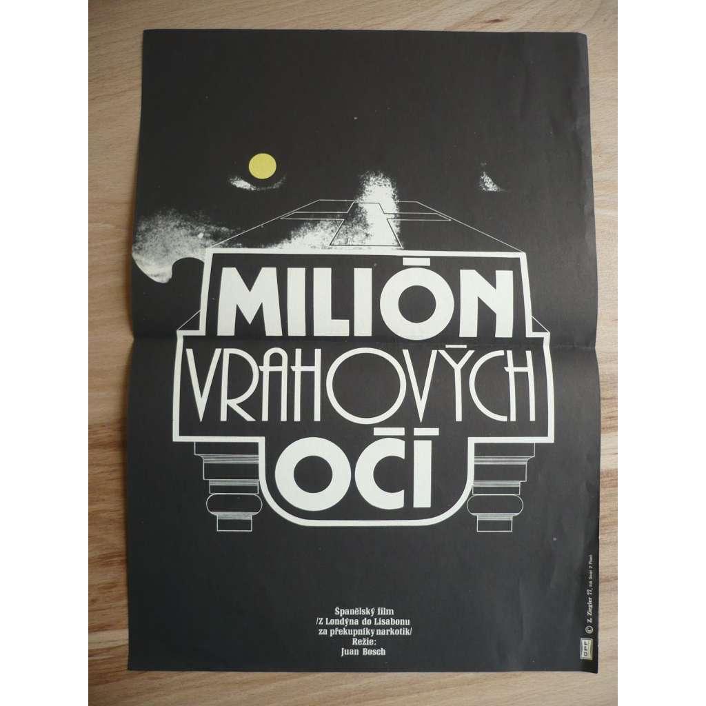 Milión vrahových očí (filmový plakát, film Španělsko 1974, režie Juan Bosch, Hrají: Julio Pérez Tabernero, Anthony Steffen, Britt Nichols)