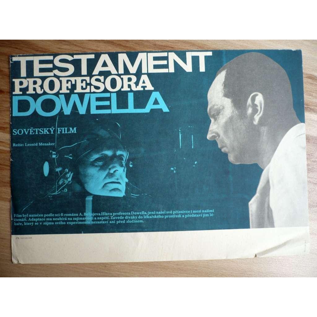 Testament profesora Dowella (filmový plakát, film SSSR 1984, režie Leonid Menaker, Hrají: Valentina Titova, Alexandr Porochovščikov, Ernst Romanov)