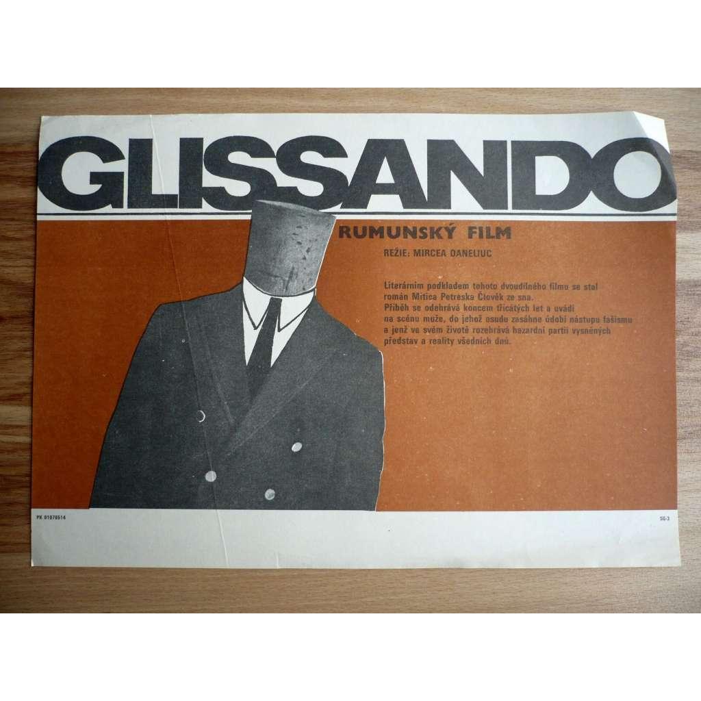 Glissando (filmový plakát, film Rumunsko 1985, režie Mircea Daneliuc, Hrají: Stefan Iordache, Tora Vasilescu, Petre Simionescu)