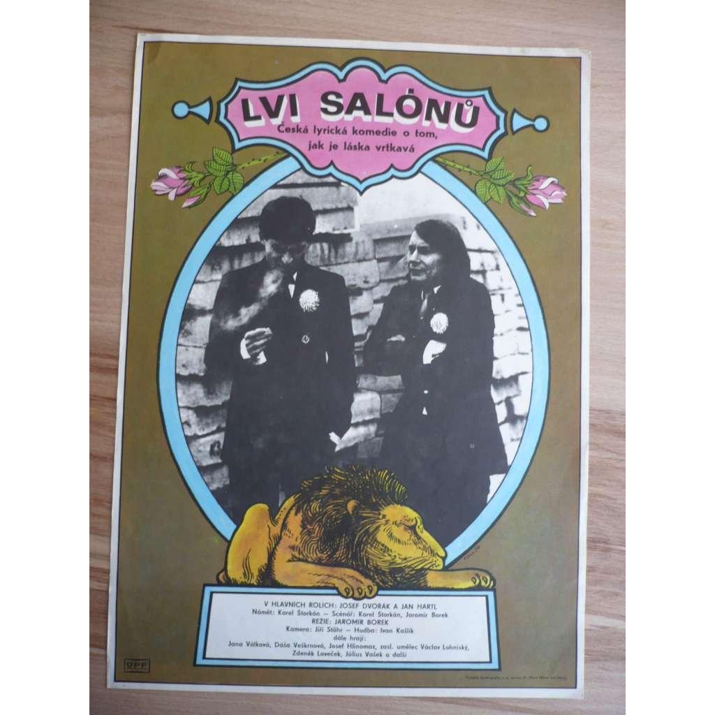 Lvi salónů (filmový plakát, film ČSSR 1978, režie Jaromír Borek, Hrají: Josef Dvořák, Jan Hartl, Jana Janěková)