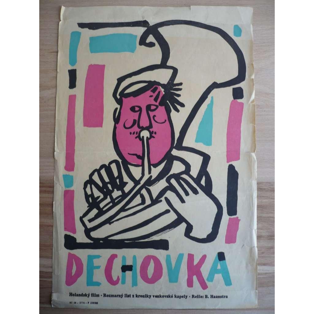 Dechovka (filmový plakát, film Nizozemsko 1958, režie Bert Haanstra, Hrají: Bernard Droog, Andrea Domburg, Wim van den Heuvel)