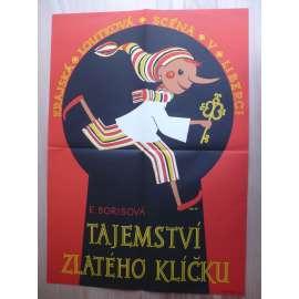 Tajemství zlatého klíčku (filmový plakát, loutkový film ČSSR, režie E. Borisová, krajská loutková scéna v Libereci)