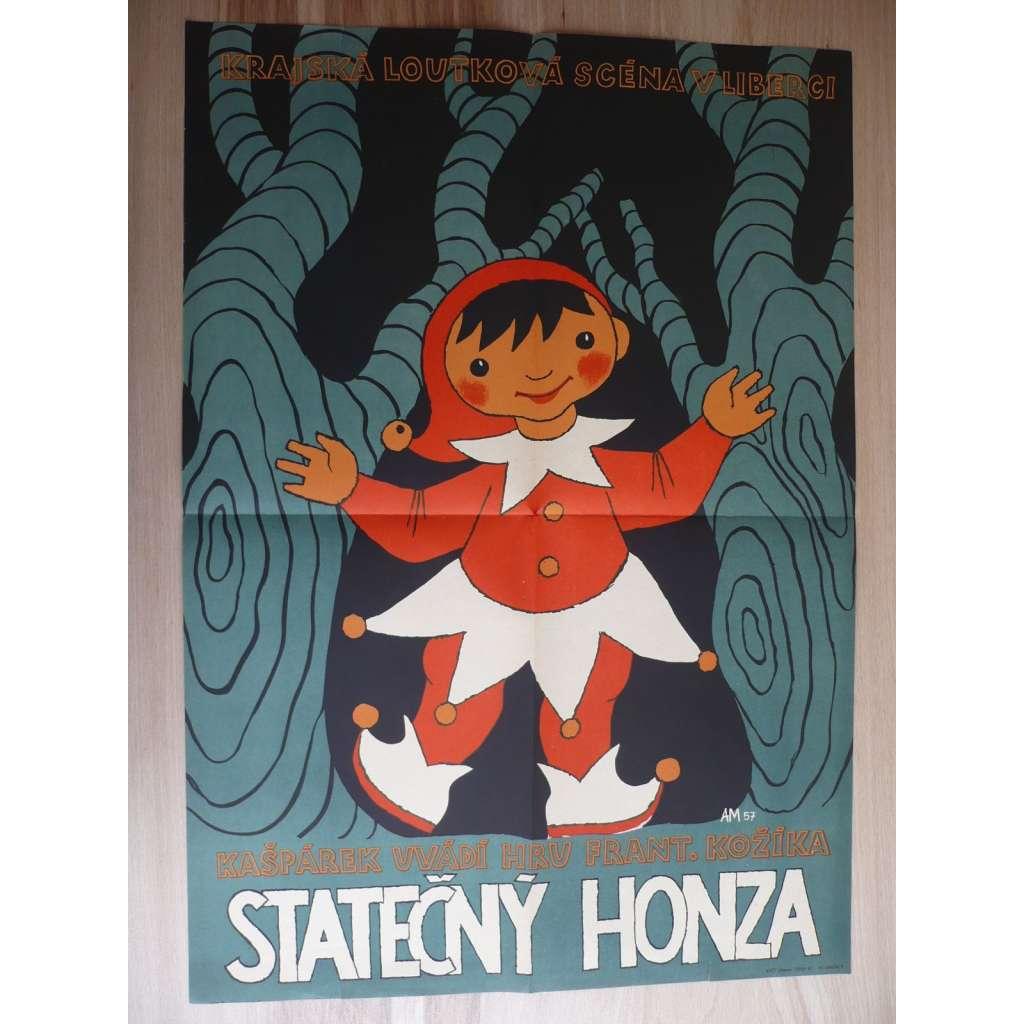 Statečný Honza (filmový plakát, loutkový film ČSSR, námět František Kožíka, krajská loutková scéna v Liberci)