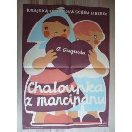 Chaloupka z marcipánu (plakát, loutkové představení, loutky, Krajská loutková scéna v Liberci, O. Augusta)