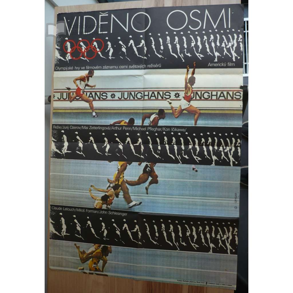 Viděno osmi (filmový plakát, film USA-SRN1973, režie Miloš Forman, Hrají: Ulrike Meyfarth, Wolfgang Sawallisch)