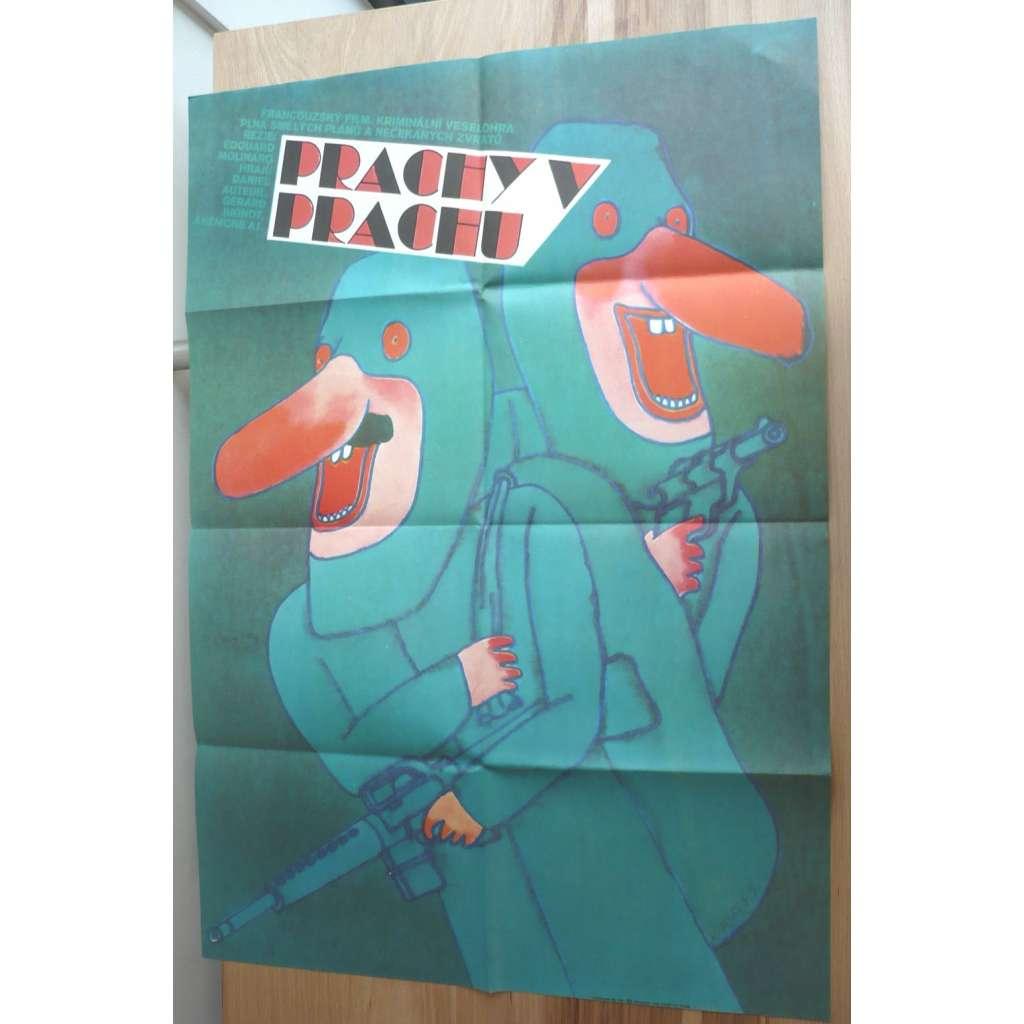 Prachy v prachu (filmový plakát, film Francie 1982, režie Edouard Molinaro, Hrají: Daniel Auteuil, Gérard Jugnot, Anémone, Isabelle Mergault)