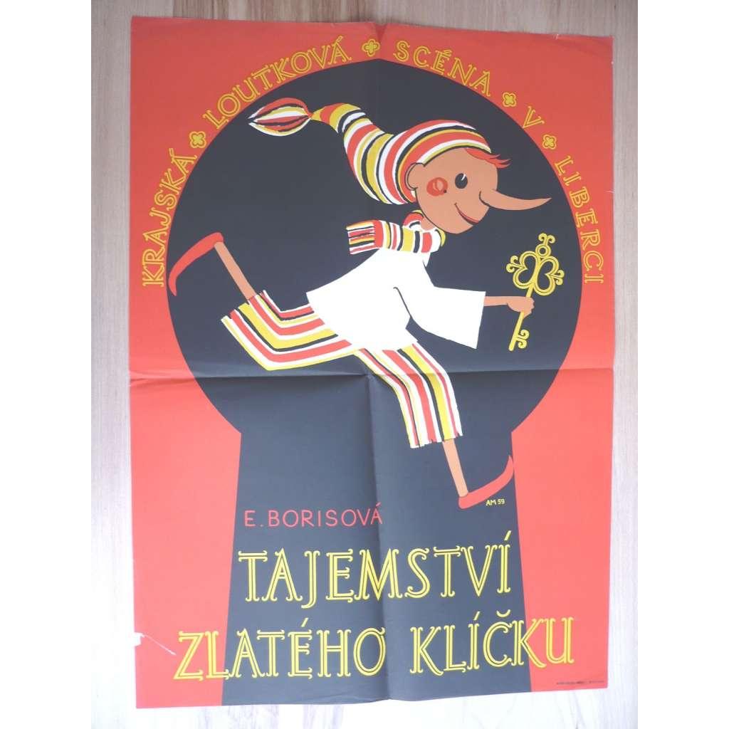 Tajemství zlatého klíčku (plakát, loutky, ČSSR, E. Borisová, Krajská loutková scéna v Libereci)