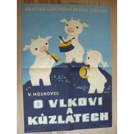 O vlkovi a kůzlatech (plakát, ČSSR, divadlo, loutky, Krajská loutková scéna Liberec, V. Hoskovec)