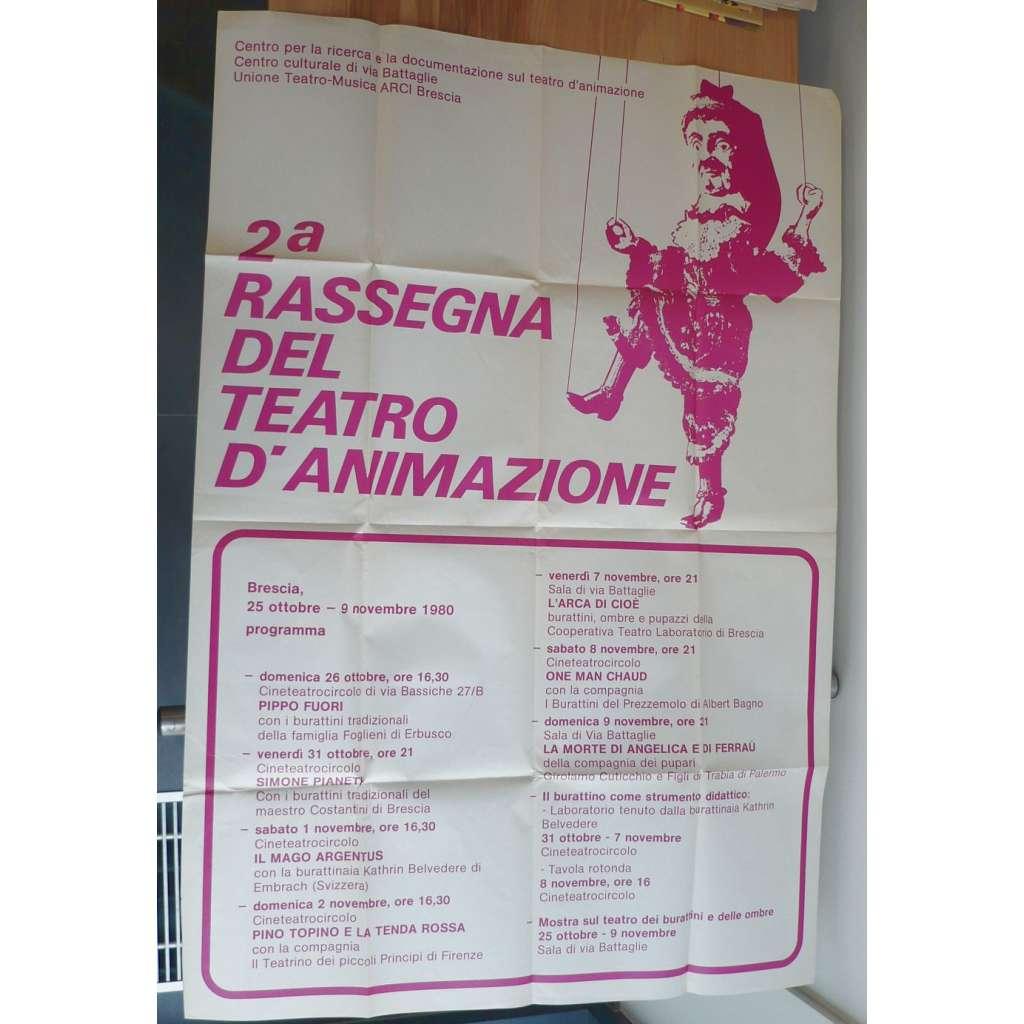 2a Rassegna del Teatro D´Aimazione (plakát, 25.10.-9.11.1980, Pippo Fuori, Simone Pianeti)