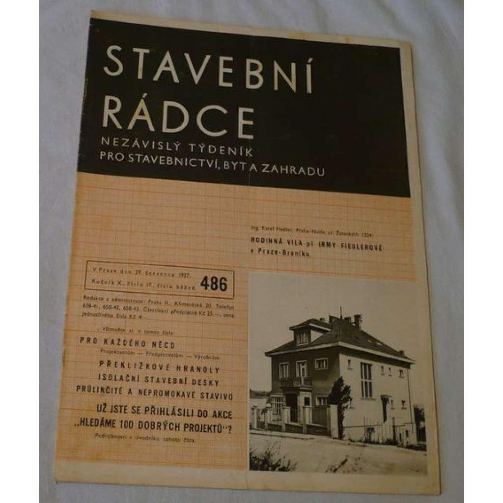 Stavební rádce 1937, roč.X., č.17., č.běžné 486