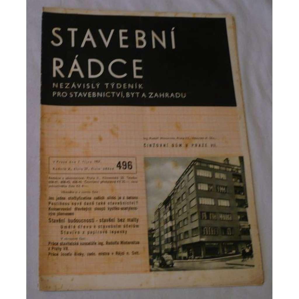 Stavební rádce 1937, roč.X., č.27., č.běžné 496