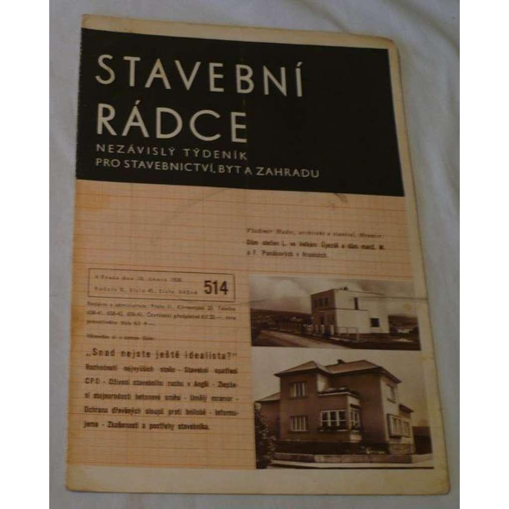 Stavební rádce 1938, roč.X., č.45., č.běžné 514