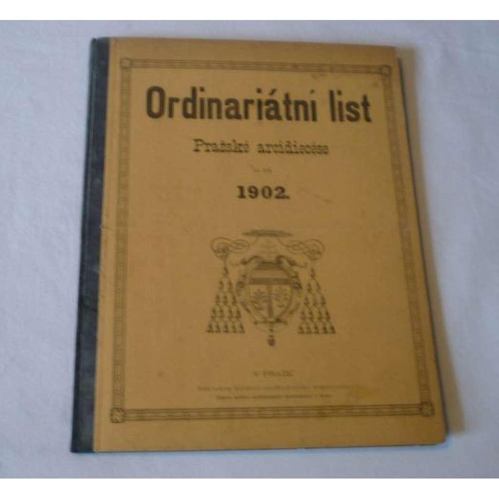 Ordinariátní list na rok 1902