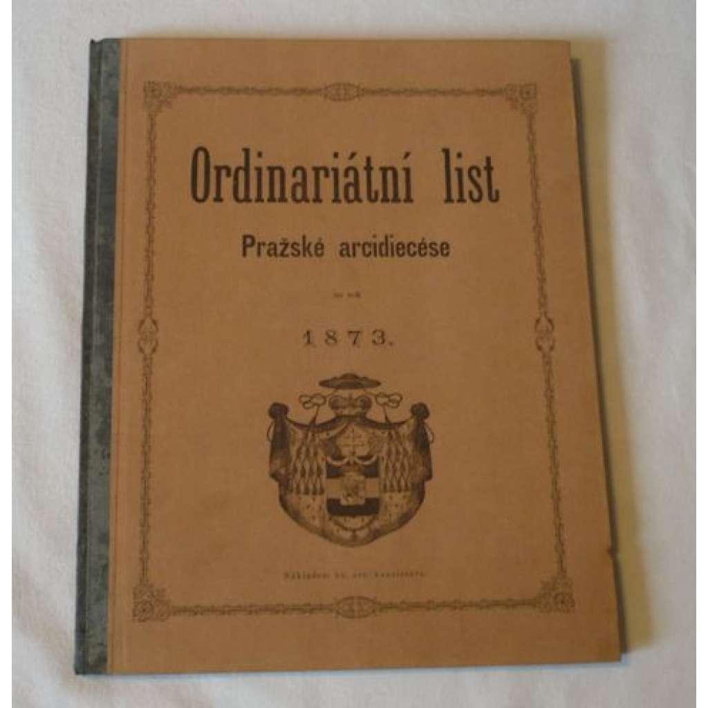 Ordinariátní list na rok 1873