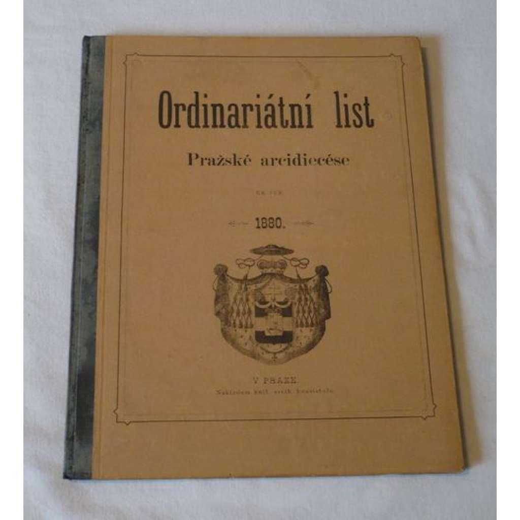 Ordinariátní list na rok 1880