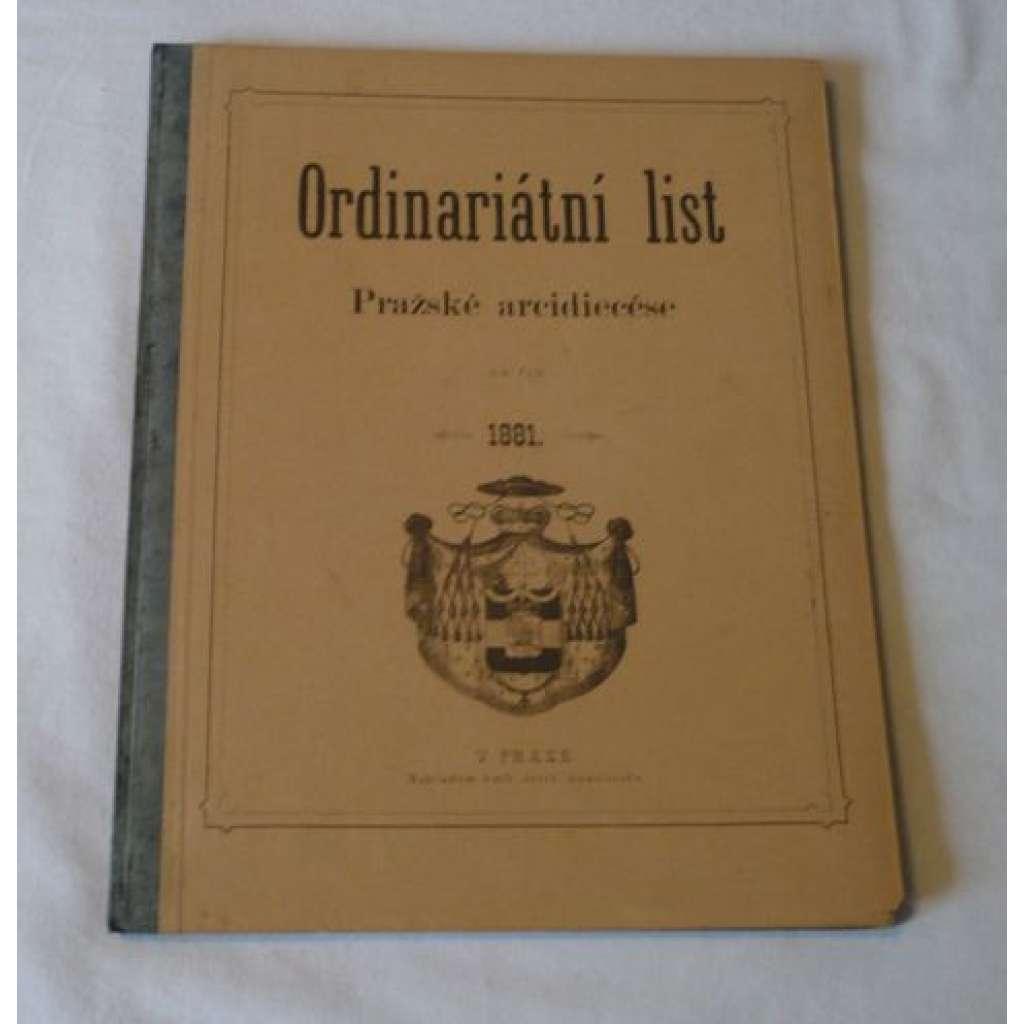 Ordinariátní list na rok 1881