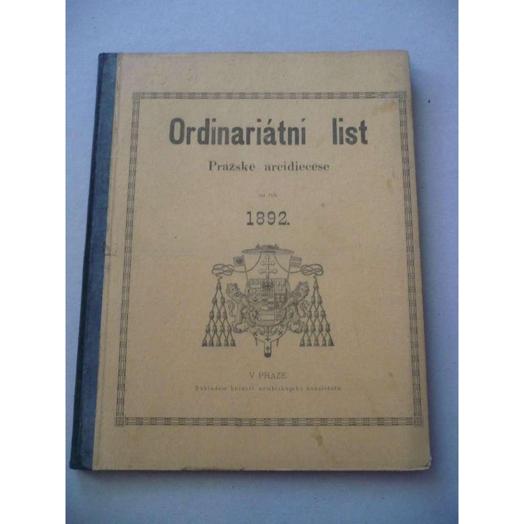 Ordinariátní list na rok 1892