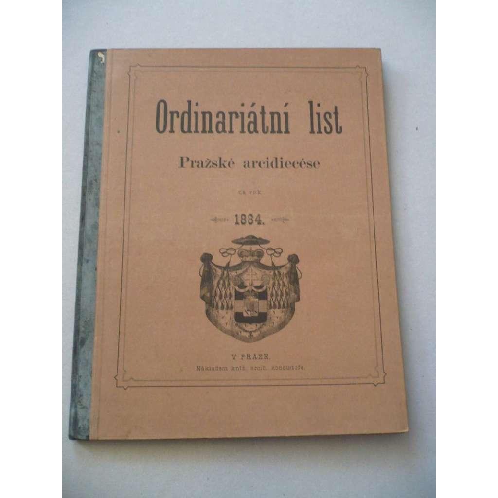 Ordinariátní list na rok 1884