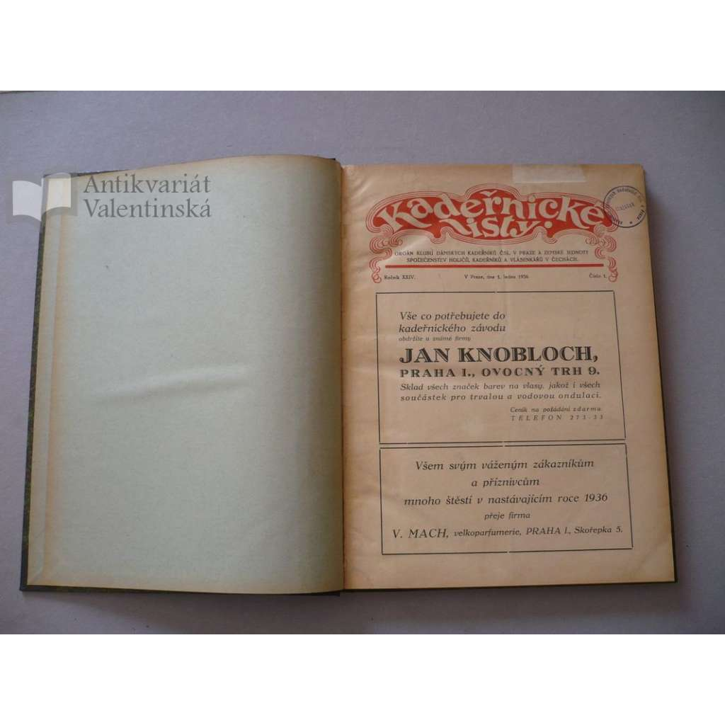 Kadeřnické listy, roč. XXIV. (1936) - (kadeřnictví, móda)