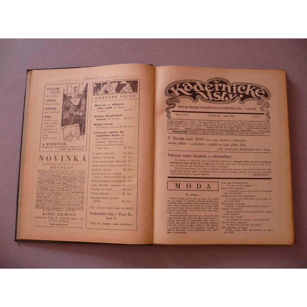 Kadeřnické listy, roč. XXVII. (1939) - (kadeřnictví, móda)