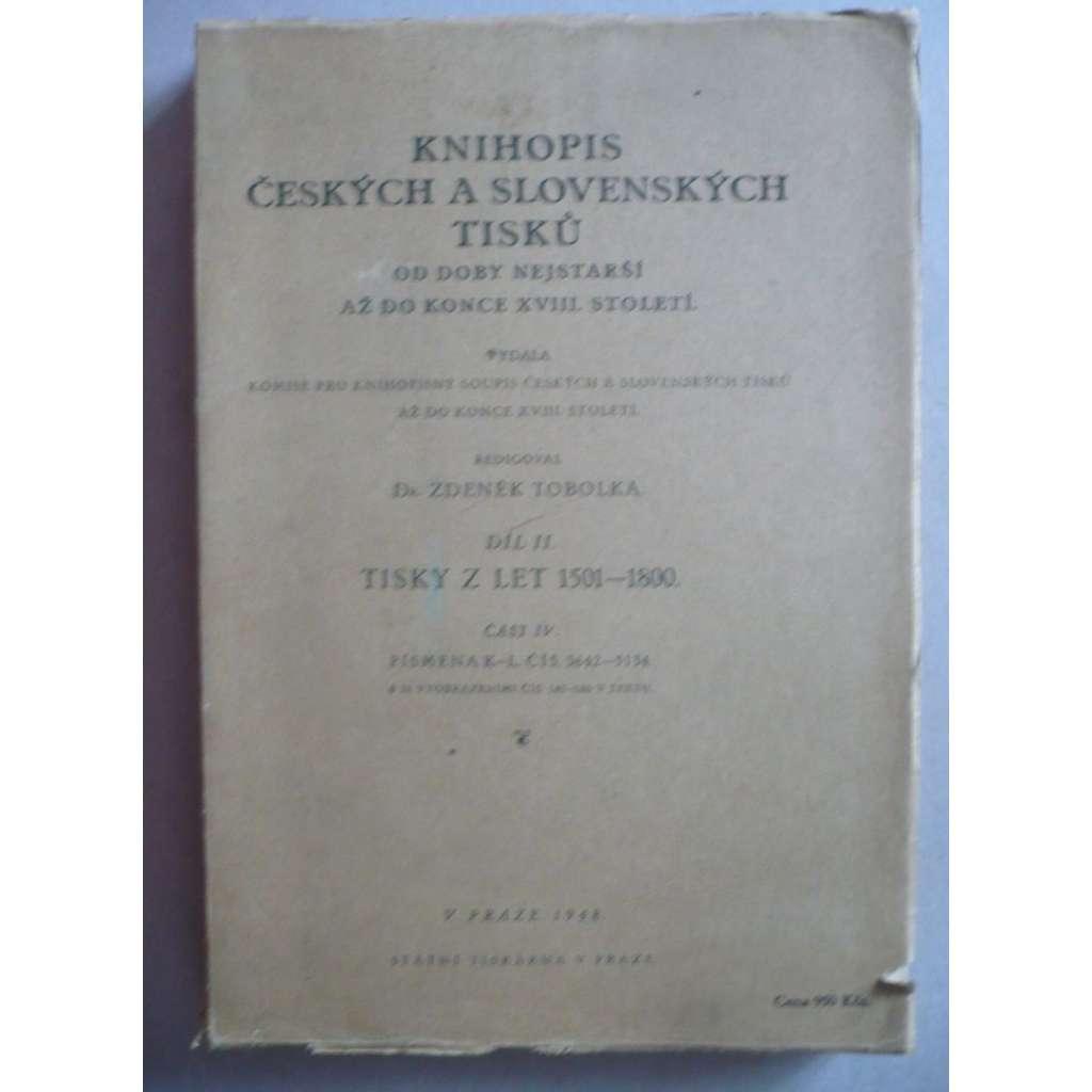 Knihopis českých a slovenských tisků II - část IV