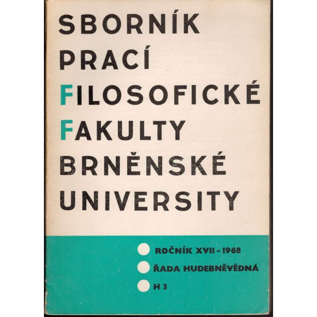 Sborník prací...roč. XVII/1968, filosofická fakulta Brněnské university, řada hudebněvědná H3