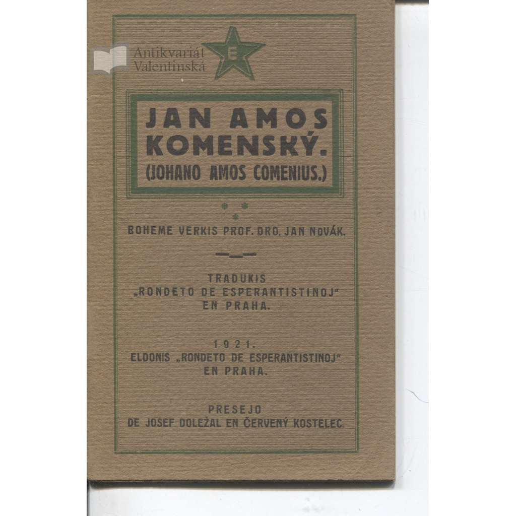 Jan Amos Komenský (Johano Amos Comenius)