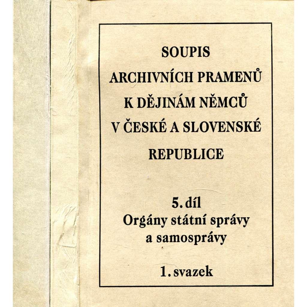 Soupis archivních pramenů k dějinám Němců v České a Slovenské republice, 5. díl