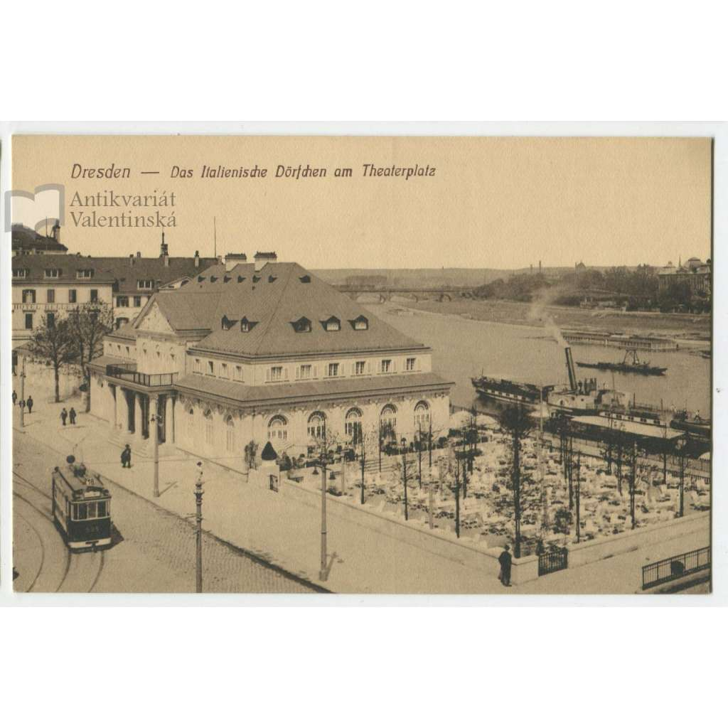 Dresden, Drážďany, Německo, parník, tramvaj