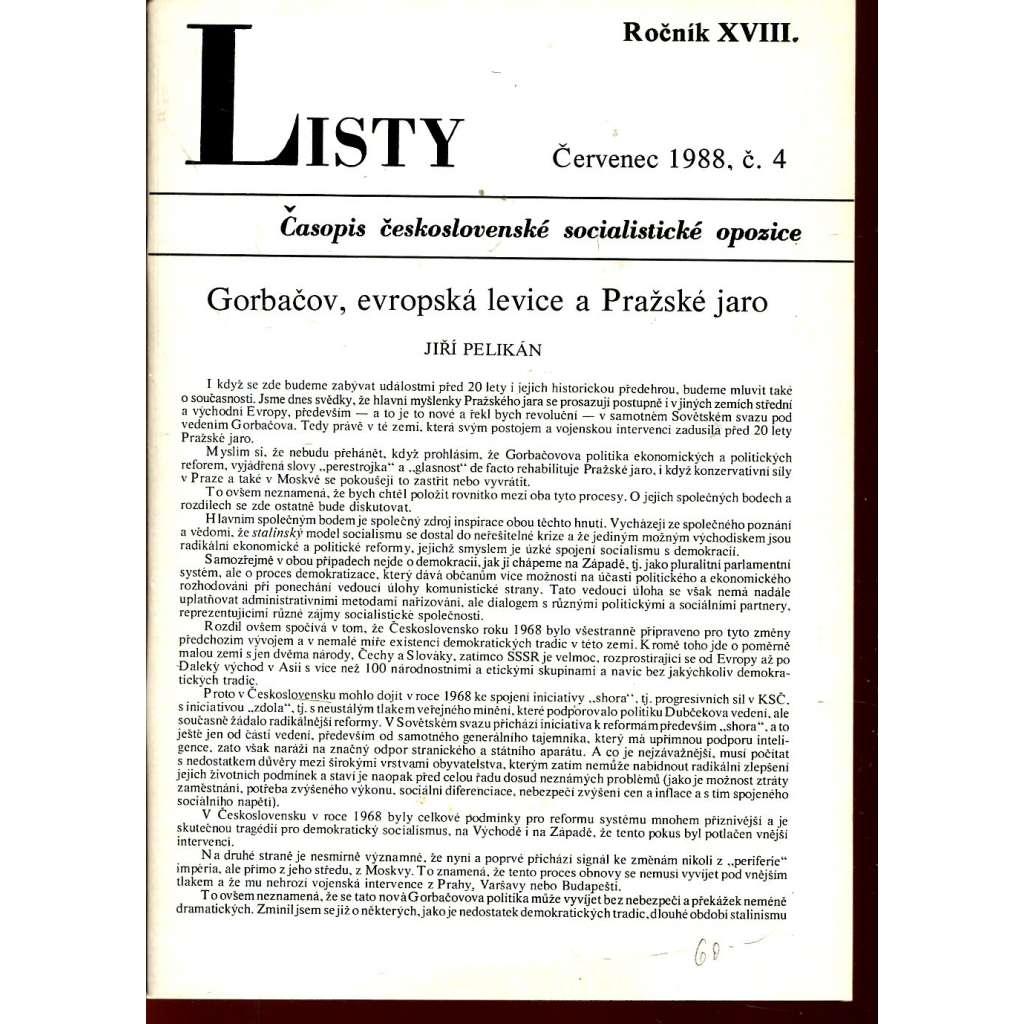 Listy, roč. XVIII. Červenec 1988, č. 4