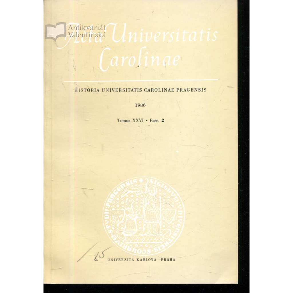 Historia Universitatis Carolinae Pragensis, XXVI/2, 1986