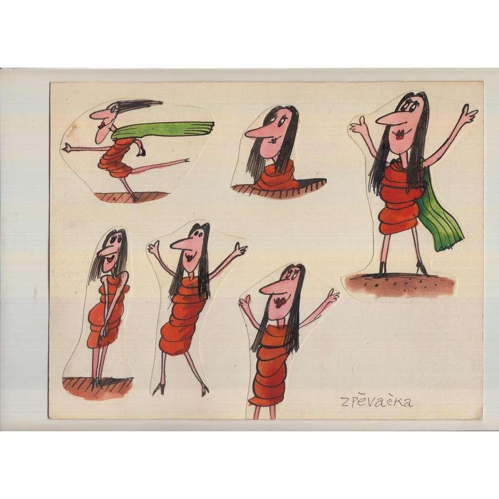 Trening, zpěvačka (oboustranné, 10 kreseb)