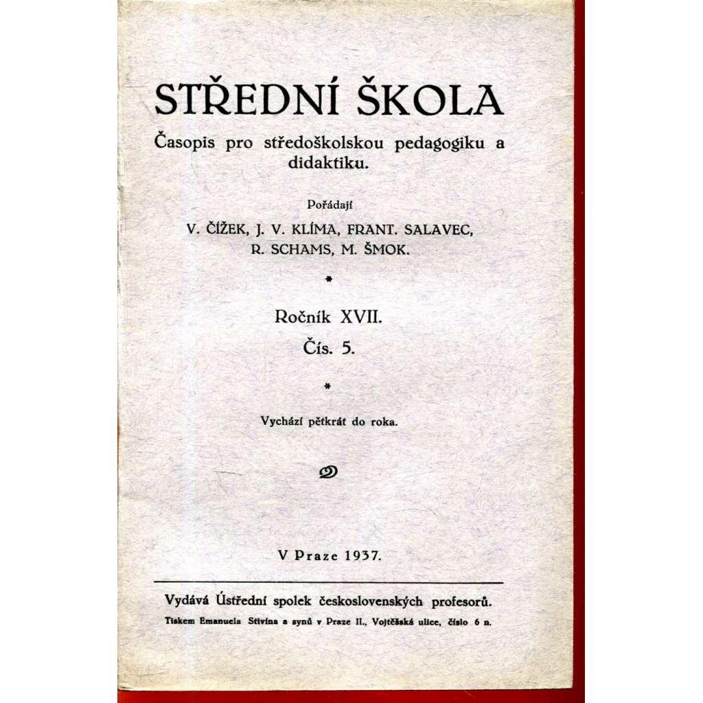 Střední škola, roč. XVII., čís. 5/1937